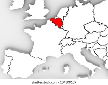 The country of Spain highlighted on an abstract 3D map of Europe ...