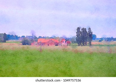 Belgium country side, watercolor style