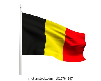 Belgium flag floating in the wind with a White sky background. 3D illustration.