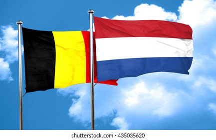 Belgium flag with Netherlands flag, 3D rendering