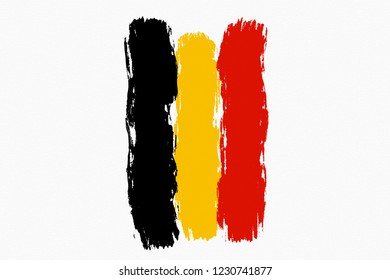 Belgium flag. Belgium flag painted by brush hand paints. Art flag. Painted texture