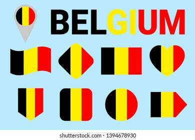 Belgium flag set. Different geometric shapes. Flat style. Belgian flags collection. For sports, national, travel, geographic design elements. isolated icons with state name