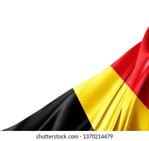 Belgium flag of silk with copyspace for your text or images and white background -3D illustration