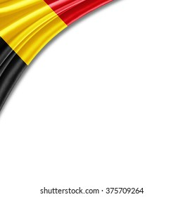 Belgium flag of silk with copyspace for your text or images and white background