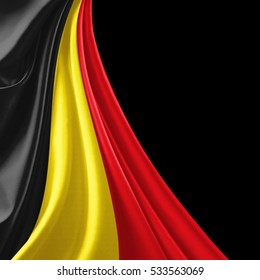 Belgium  flag of silk with copyspace for your text or images and black background-3D illustration