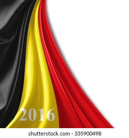 Belgium flag of silk ,number 2016 with copyspace for your text or images and white background