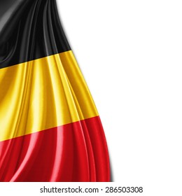 Belgium flag of silk and white background