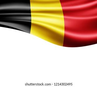 Belgium flag of silk and white background-3D illustration