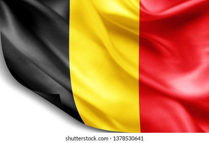 Belgium flag of silk-3D illustration