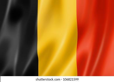 Belgium flag, three dimensional render, satin texture