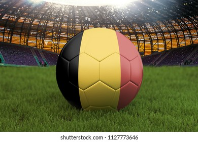 Belgium football team ball on big stadium background. Belgium Team competition concept. Belgium flag on ball team tournament in Russia. Sport competition on green grass background. 3d rendering