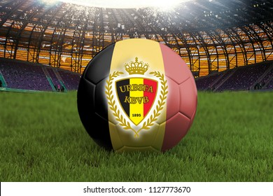 Belgium football team ball on big stadium background with Belgium Team logo competition concept. Belgium flag on ball team tournament in Russia. Sport competition on grass background. 3d rendering
