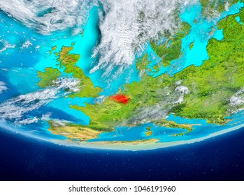 Belgium highlighted in red on planet Earth with clouds. 3D illustration. Elements of this image furnished by NASA.