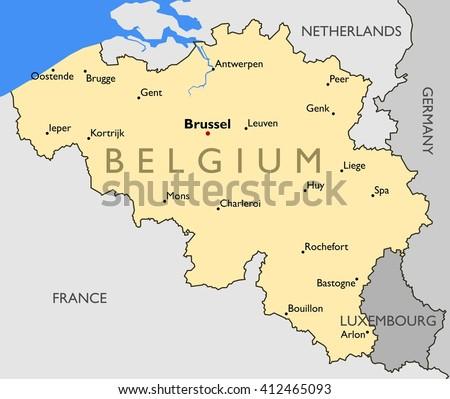 Belgium Map Color Map Belgium Stock Illustration 412465093 ...