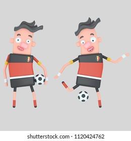 Belgium  soccer player . 3d illustration
