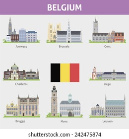 Belgium. Symbols of cities. Raster version