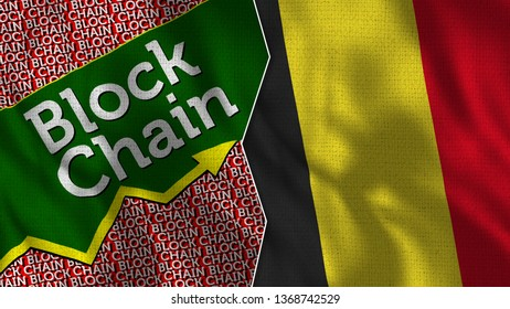 Belgium and Tax Block Chain Flag Together - 3D illustration Fabric Texture