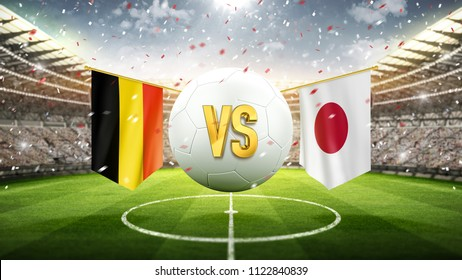 Belgium vs Japan. Soccer concept. White soccer ball with the flag in the stadium, 2018. 3d render