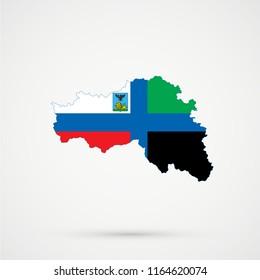 Belgorod Oblast map in Belgorod Oblast flag colors