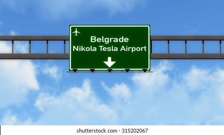 Belgrade Serbia Airport Highway Road Sign 3D Illustration