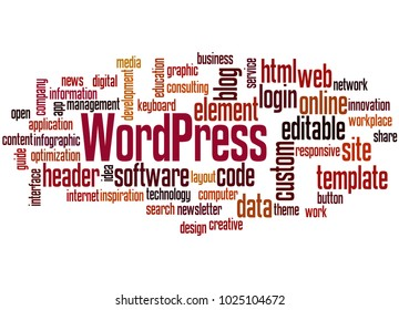 BELGRADE, SERBIA - FEBRUARY 05, 2018: WordPress word cloud concept on white background.