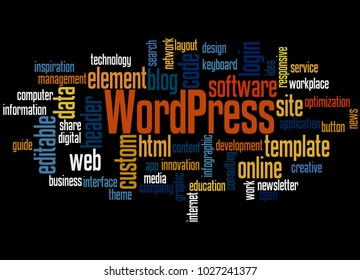 BELGRADE, SERBIA - FEBRUARY 05, 2018: WordPress word cloud concept on black background.