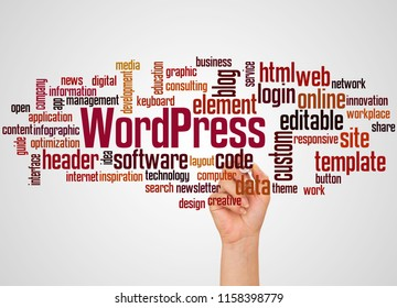 BELGRADE, SERBIA - FEBRUARY 05, 2018: WordPress word cloud and hand with marker concept on gradient  background.