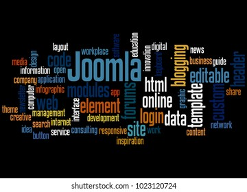 BELGRADE, SERBIA - FEBRUARY 06, 2018: Joomla word cloud concept on black background.