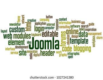 BELGRADE, SERBIA - FEBRUARY 06, 2018: Joomla word cloud concept on white background.