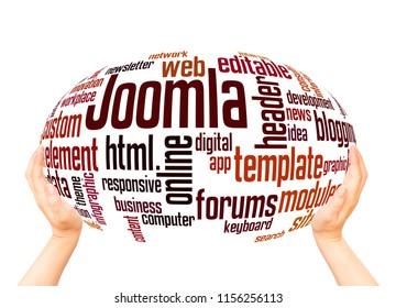 BELGRADE, SERBIA - FEBRUARY 06, 2018: Joomla word cloud hand sphere concept on white background.