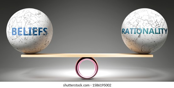 Beliefs and rationality in balance - pictured as balanced balls on scale that symbolize harmony and equity between Beliefs and rationality that is good and beneficial., 3d illustration