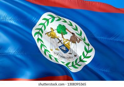 Belize flag. 3D Waving flag design. The national symbol of Belize, 3D rendering. The national symbol of Belize background wallpaper. South America flag 3D ribbon, wallpaper, pattern background