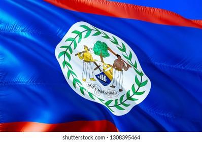 Belize flag. 3D Waving flag design. The national symbol of Belize, 3D rendering. National colors and National South America flag of Belize for a background. Americas sign on smooth silk