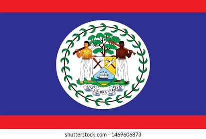 Belize flag with Belmopán as the capital