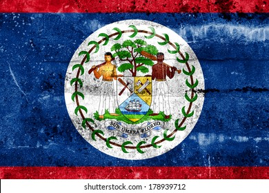 Belize Flag painted on grunge wall