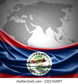 Belize flag of silk with copyspace for your text or images and world map background -3D illustration