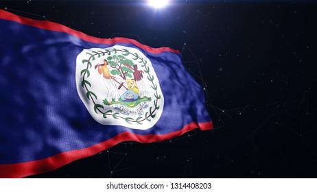 Belize modern flag 3d render
