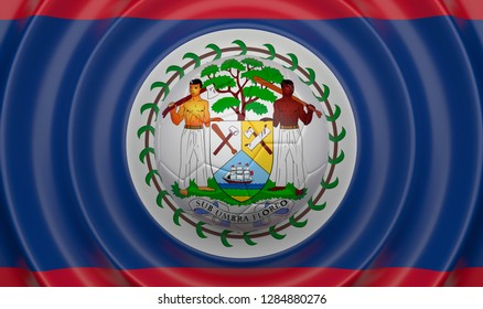 Belize, soccer ball on a wavy background, complementing the composition in the form of a flag, 3d illustration