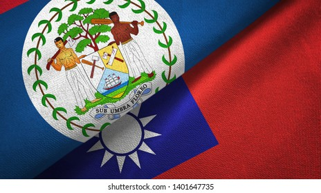 Belize and Taiwan two flags textile cloth, fabric texture