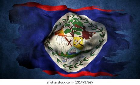 Belize torn flag 3d render
