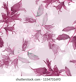 Bell flower seamless pattern. Hand painted background.