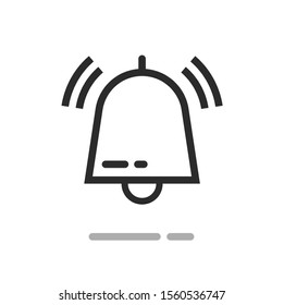 Bell or handbell ringing symbol icon, line outline art doorbell or jingle with sound waves isolated image