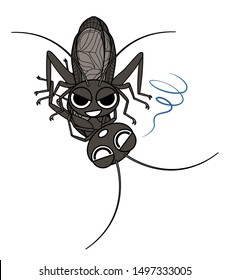 bell-ringing cricket cannibalism  character illustration clip art
