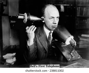 Bell's first telephone. Publicity photo ca. 1915-1925