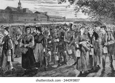 Bell-Time,' wood engraving after Winslow Homer drawing of 1868 shows workers leaving the Lawrence, Massachusetts, factory at the end of their 13 hour day.