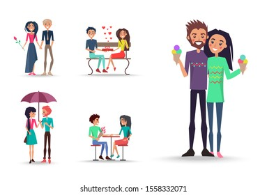 Beloved men and girls with ice cream, red rose, bouquet of pink tulips, gift decorated ribbon with bow and many little hearts raster illustration.