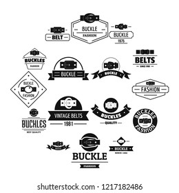 Belt buckle logo icons set. Simple illustration of 16 belt buckle logo icons for web