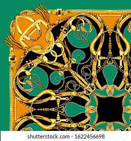 belt, chain and rope mix pattern. beautiful scarf design for textile and digital print - Illustration