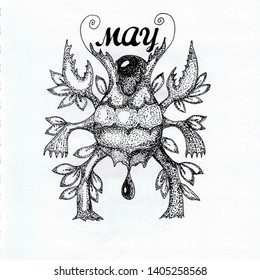 BELTANE 1 Cute Beetle Leaf Beltane Black and White Surreal Ink Pen Hand Drawn Monster with Crab Claws