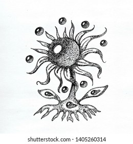 BELTANE 2 Cute Sunflower Lovely Funny Black and White Ink Pen Hand Drawn Floral Monster with Water Drops